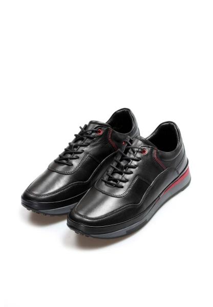 Ayakkabıhane İçi Dışı Hakiki Deri Siyah Erkek Sneaker Spor Ayakkabı AH855MA1312
