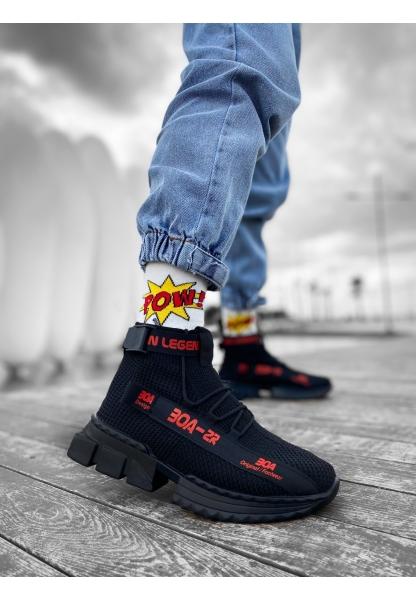 KUASAR- X Erkek Tarz Yüksek Taban Siyah Kırmızı Renk Spor Ayakkabı
