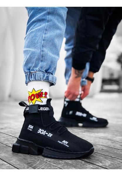 KUASAR- X Erkek Tarz Yüksek Taban Siyah Tabanlı Spor Ayakkabı