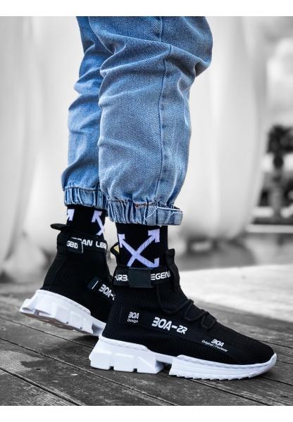 KUASAR- X Erkek Tarz Yüksek Taban Siyah Renk Spor Ayakkabı