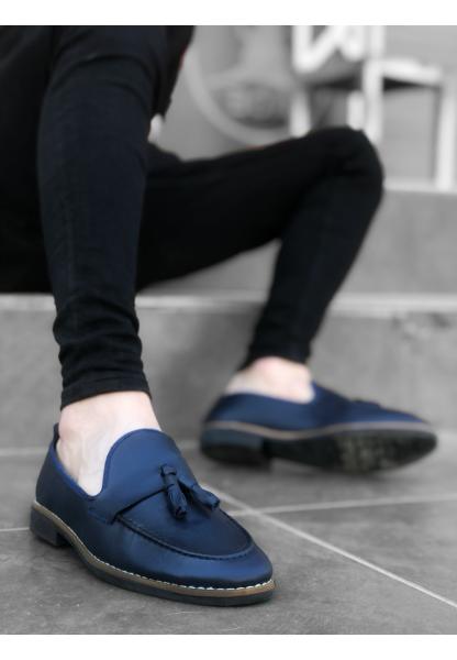 AHN0009 AHN Klasik Corcik Cilt Püsküllü Lacivert Erkek Ayakkabı