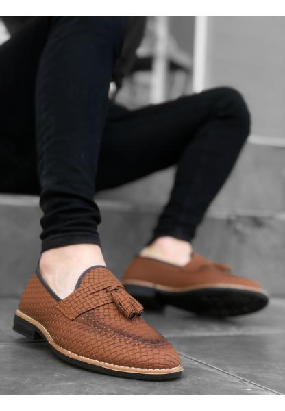 AHN0009 AHN Klasik Corcik Püsküllü Desenli Taba Erkek Ayakkabı