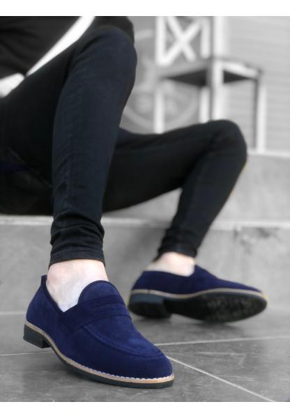 AHN0009 AHN Klasik Corcik Süet Lacivert Erkek Ayakkabı