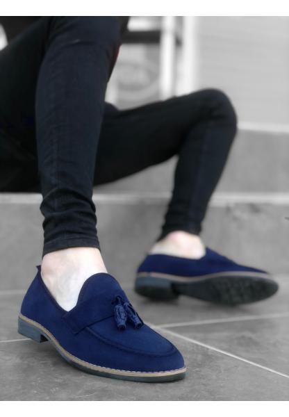AHN0009 AHN Klasik Corcik Süet Püsküllü Lacivert Erkek Ayakkabı