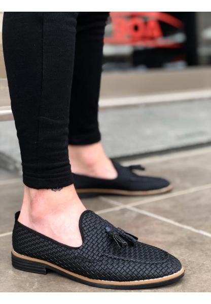 AHN0009 Püsküllü Corcik Siyah Klasik Erkek Ayakkabısı