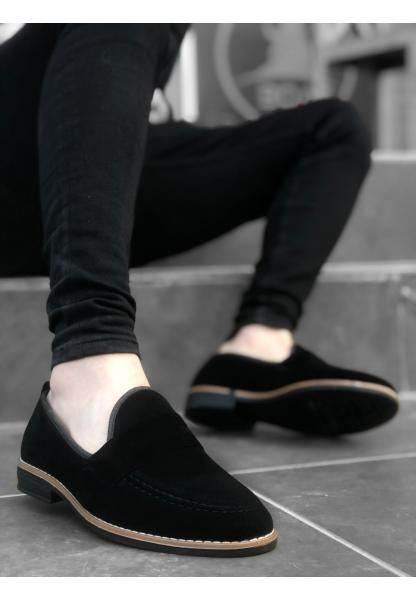 AHN0009 Süet Corcik Siyah Klasik Erkek Ayakkabısı