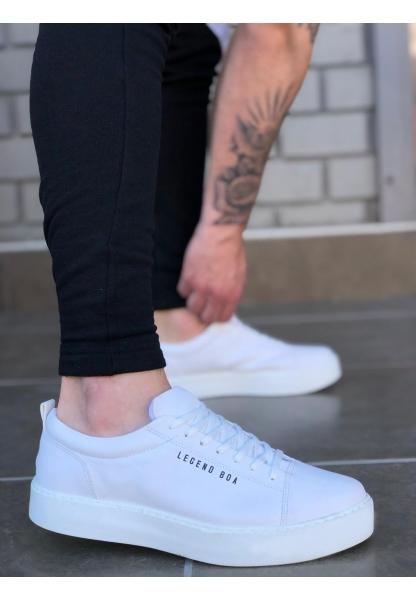 AHN0104 Bağcıklı Beyaz Cilt Deri Spor Klasik Erkek Ayakkabı