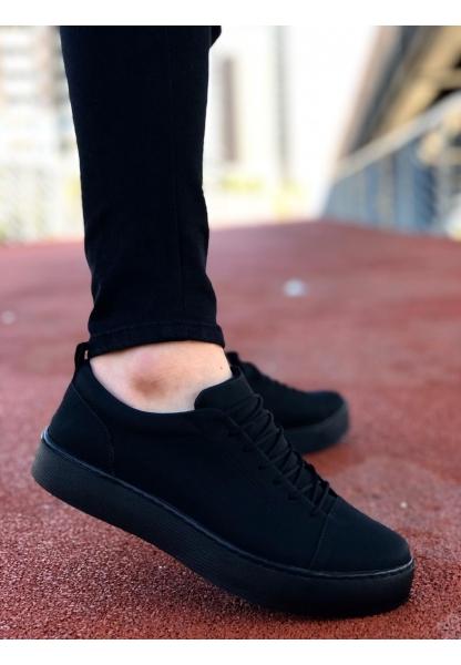 AHN0104 Bağcıklı  Nubuk Siyah Spor Klasik Erkek Ayakkabı
