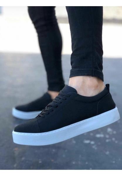 AHN0104 Bağcıklı  Nubuk Spor Klasik Siyah Erkek Ayakkabı