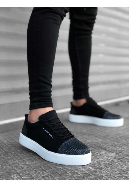 AHN0104 Bağcıklı Siyah Ekose Süet Siyah Taban Spor Klasik Erkek Ayakkabı