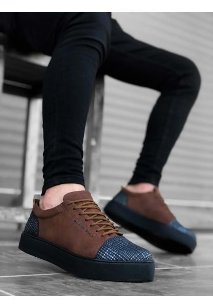 AHN0104 Bağcıklı Taba Ekose Süet Siyah Taban Spor Klasik Erkek Ayakkabı