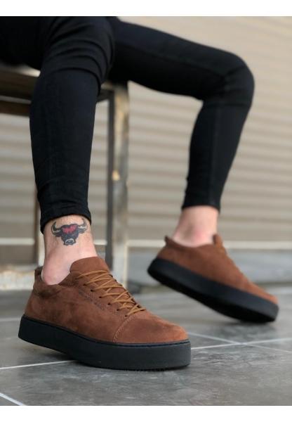 AHN0104 Bağcıklı Taba Süet Siyah Taban Spor Klasik Erkek Ayakkabı