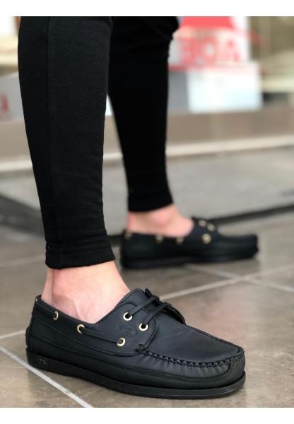 AHN0125 Rahat Taban İçi Dışı Hakiki Deri Siyah Klasik Erkek Ayakkabı