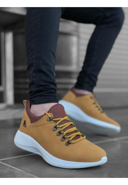 AHN0601 Bağcıklı Rahat Kalın Taban Camel Sarı Beyaz Erkek Spor Ayakkabı