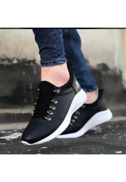AHN0601 Bağcıklı Rahat Yüksek Taban Siyah Beyaz Casual Erkek Spor Ayakkabı