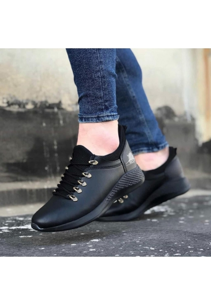 AHN0601 Bağcıklı Rahat Yüksek Taban Siyah Casual Erkek Spor Ayakkabı