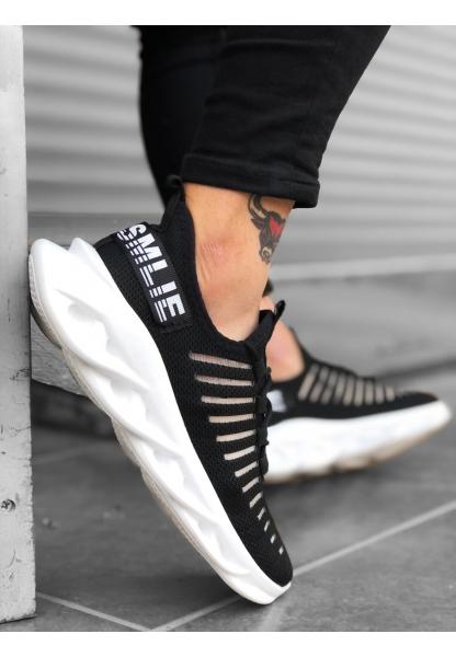 AHN0602 Phantom Yüksek Taban Tarz Sneakers Siyah Beyaz Erkek Spor Ayakkabısı