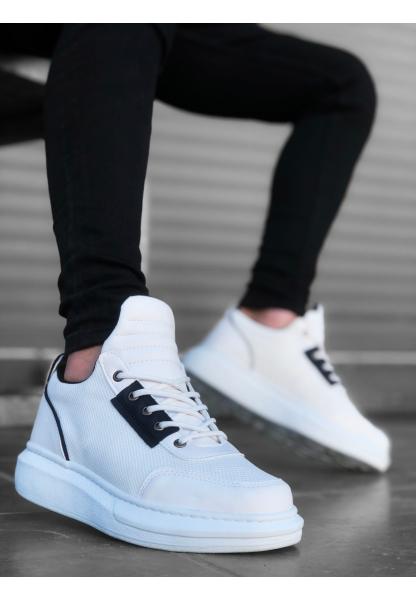 AHN0606 Bağcıklı Rahat Yüksek Taban Beyaz  Casual Erkek Spor Ayakkabı