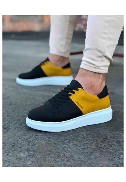WG151 Siyah Sarı Süet Erkek Spor Ayakkabı