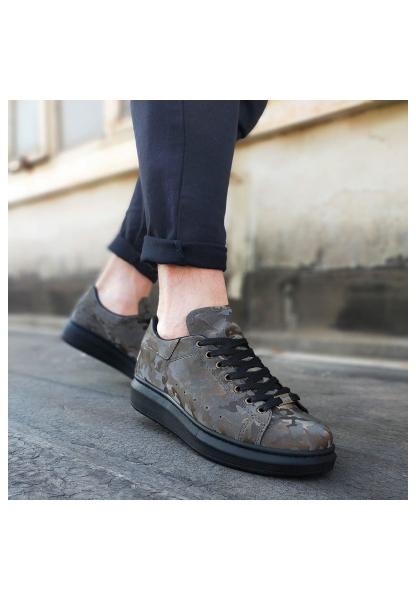 WG501 Gri Siyah Hologram Erkek Yüksek Taban  Ayakkabı