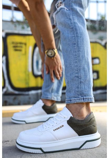 AHN075 İpekyol Beyaz Taban Erkek Ayakkabı BEYAZ / HAKİ