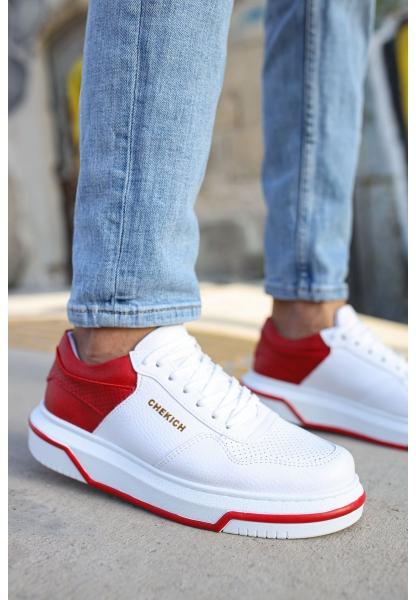 AHN075 İpekyol Beyaz Taban Erkek Ayakkabı BEYAZ / KIRMIZI