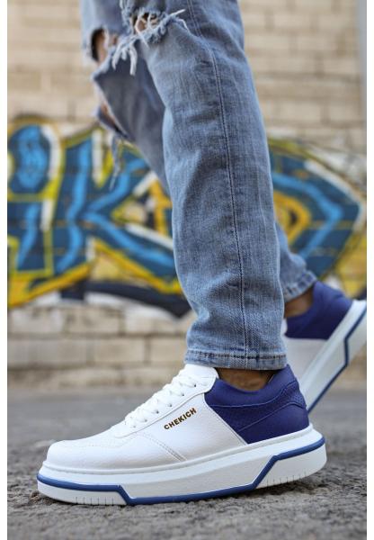 AHN075 İpekyol Beyaz Taban Erkek Ayakkabı BEYAZ / SAX MAVİ