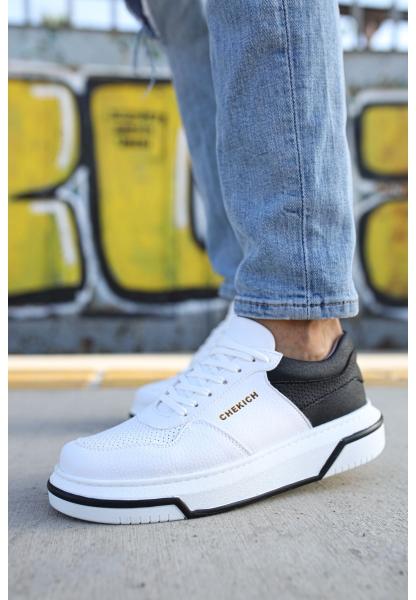AHN075 İpekyol Beyaz Taban Erkek Ayakkabı BEYAZ / SİYAH