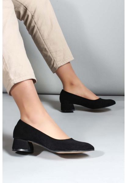 My Fiero Siyah Süet Kadın Kısa Topuklu Ayakkabı