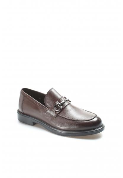 Ayakkabıhane İçi Dışı Kaliteli Hakiki Deri Kahve Tokalı Erkek Casual Ayakkabı AH630MA309