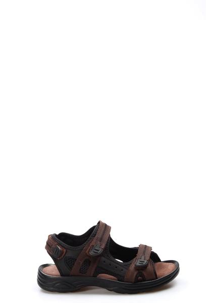 Ayakkabıhane Kaliteli Hakiki Deri Kahve Spor Erkek Sandalet AH907GA1517