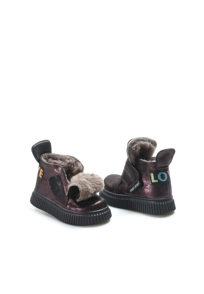 Ayakkabıhane İçi Kürklü Dışı Hakiki Deri Unisex Bordo CırtCırtlı Çocuk Spor Bot AH769KXA140