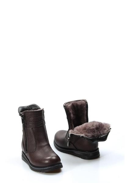 Ayakkabıhane İçi Kürklü Dışı Hakiki Deri Unisex Kahve Çift Fermuar Çocuk Klasik Bot AH770KPA202