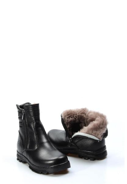 Ayakkabıhane İçi Kürklü Dışı Hakiki Deri Unisex Siyah Fermuarlı Çocuk Klasik Bot AH770KFA202