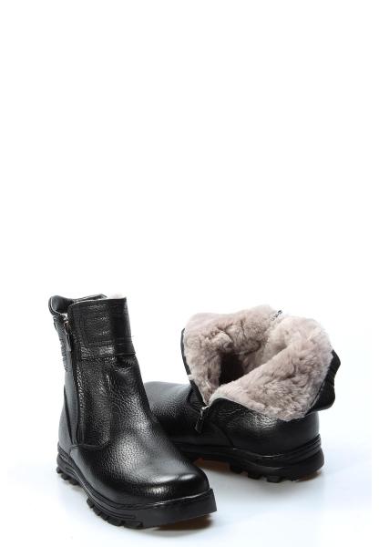 Ayakkabıhane İçi Kürklü Dışı Hakiki Deri Unisex Siyah Fermuarlı Çocuk Klasik Bot AH770KGA202