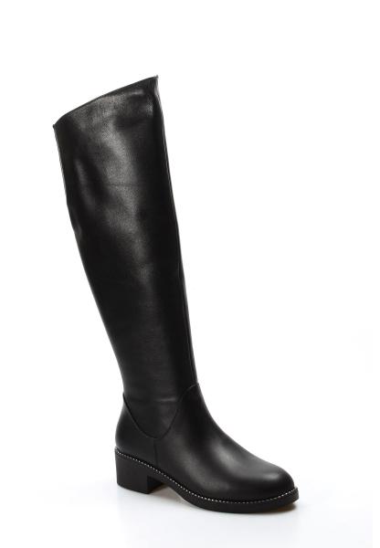 Ayakkabıhane İçi Yarım Kürklü Dışı Kaliteli Hakiki Deri Siyah Kadın Klasik Çizme AH064YZA1008