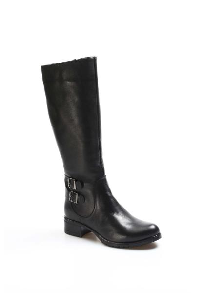 Ayakkabıhane İçi Kürklü Dışı Kaliteli Hakiki Deri Siyah Kadın Klasik Çizme AH757KZA5111