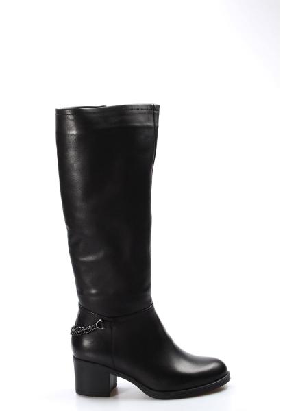 Ayakkabıhane Kaliteli Hakiki Deri Siyah Kadın Topuklu Klasik Çizme AH903YZA21586