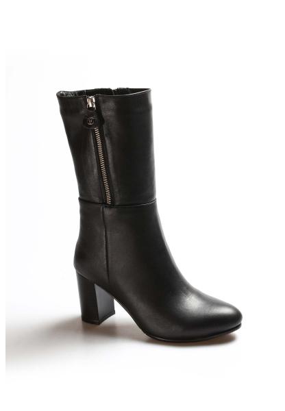 Ayakkabıhane İçi Kürklü Dışı Kaliteli Hakiki Deri Siyah Kadın Topuklu Çizme AH064KZA531
