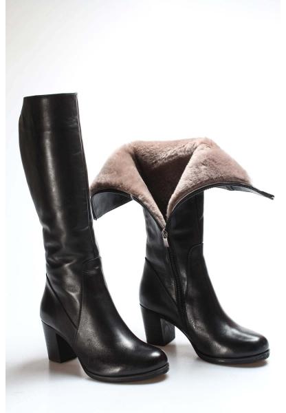 Ayakkabıhane İçi Kürklü Dışı Kaliteli Hakiki Deri Siyah Kadın Topuklu Çizme AH757KZA5112