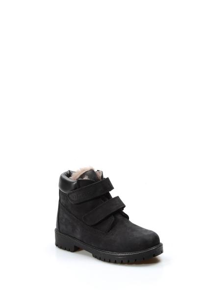 Ayakkabıhane İçi Kürklü Dışı Hakiki Nubuk Deri Unisex Siyah Cırtcırtlı Çocuk Bot AH006KFA1001