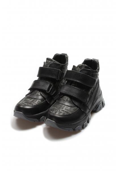 Ayakkabıhane İçi Kürklü Dışı Hakiki Deri Unisex Siyah Cırtcırtlı Çocuk Spor Bot AH612KXCA770
