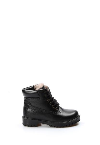 Ayakkabıhane İçi Kürklü Dışı Hakiki Deri Unisex Siyah Fermuarlı Çocuk Worker Bot AH006KFA1002