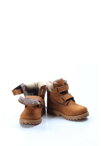 Ayakkabıhane İçi Kürklü Dışı Hakiki Deri Unisex Taba Cırtcırtlı Çocuk Worker Bot AH006KPA1001