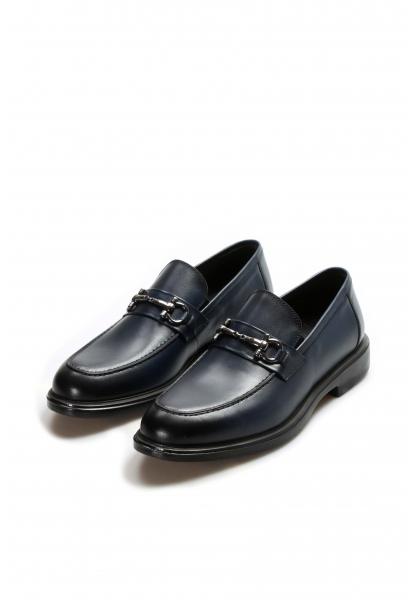 Ayakkabıhane İçi Dışı Kaliteli Hakiki Deri Lacivert Erkek Tokalı Casual Ayakkabı AH630MA309
