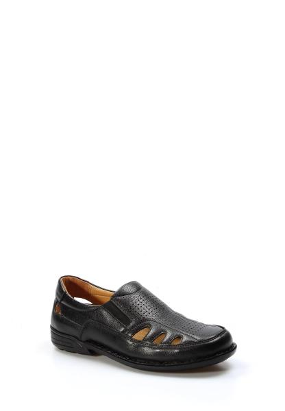 Ayakkabıhane İçi Dışı Hakiki Deri Siyah Ortopedik Klasik Erkek Sandalet AH662MA118KT