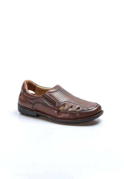 Ayakkabıhane İçi Dışı Hakiki Deri Taba Ortopedik Klasik Erkek Sandalet AH662MA118KT