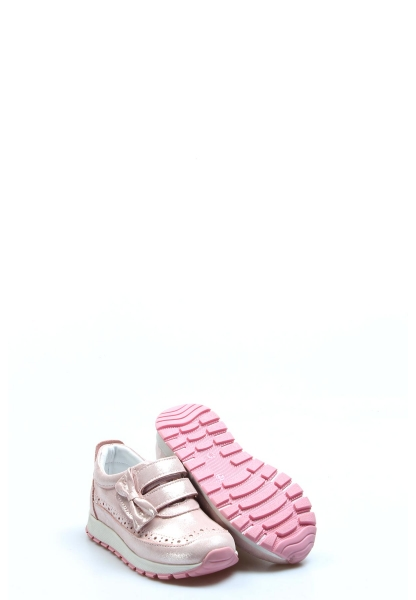 Ayakkabıhane Hakiki Deri Pudra Simli Kız Çocuk Sneaker Ayakkabı AH837PA03