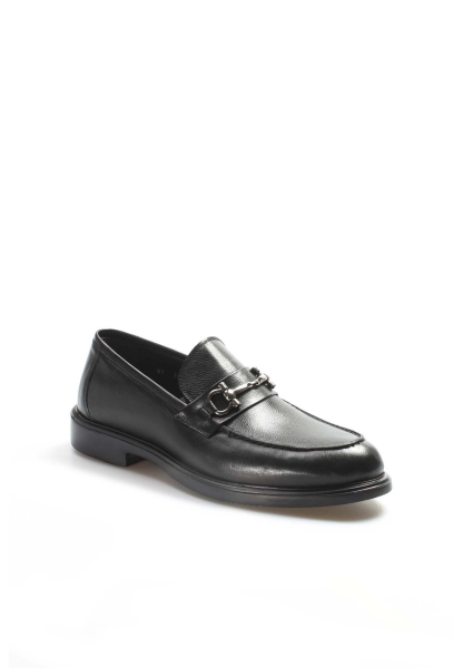 Ayakkabıhane İçi Dışı Kaliteli Hakiki Deri Siyah Tokalı Erkek Casual Ayakkabı AH630MA309