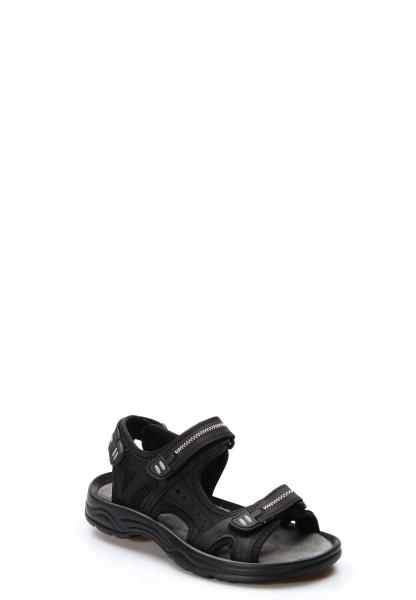 Ayakkabıhane Kaliteli Hakiki Deri Siyah Spor Erkek Sandalet AH907MA1517